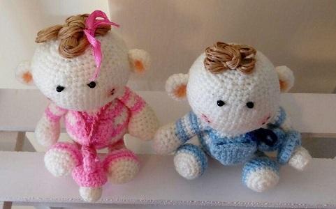 عروسک-بافتنی-دوقلو-دختر-پسر